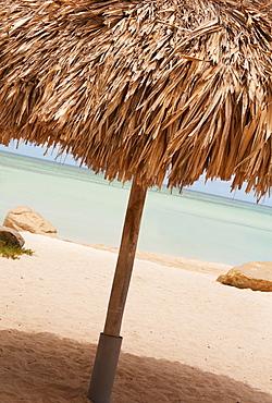 Aruba, palapa on beach