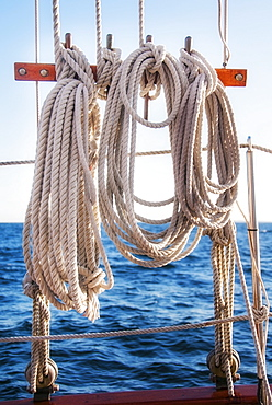 Coiled ropes on yacht deck