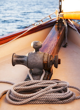 Rope coiled on yacht bow