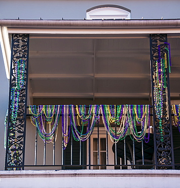 Decoration of balcony during Mardi Gras, USA, Louisiana, New Orleans