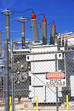 High voltage station with Danger sign