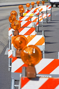 Row of traffic barricades with lights