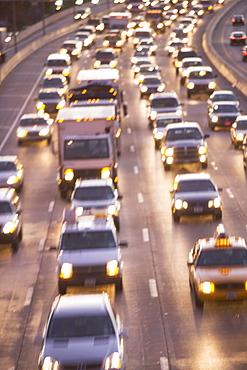 Blurred motion shot of traffic on large highway