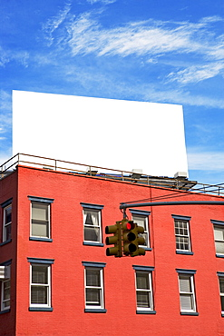 Blank billboard on building