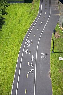 High angle view of bike trail