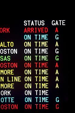 Close up of transportation time table, Washington DC, United States