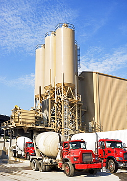 Cement trucks parked at cement plant