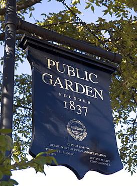 USA, Massachusetts, Boston, Public Garden sign