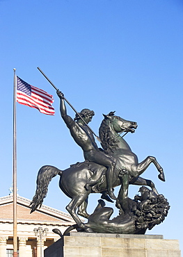 USA, Pennsylvania, Philadelphia, low angle view at statue in front of Philadelphia Museum Of Art