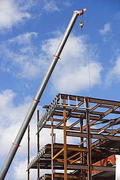 Part of construction frame and crane