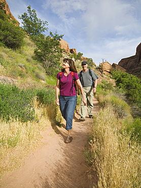 Couple hiking in desert