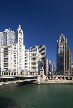 Michigan Avenue Bridge with Tribune Tower and Wrigley Building Chicago Illinois USA