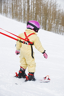 Child skiing with harness
