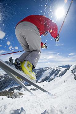 Man in air on skis