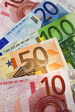 Close up of assorted Euros