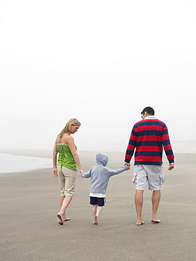 Parents holding hands with son on beach