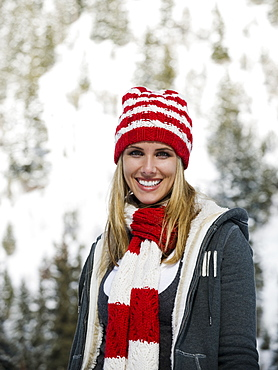 A woman outdoors in snowy surroundings