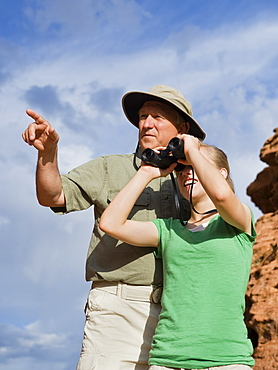 A father and daughter at Red Rock