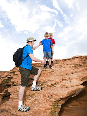 A father and two sons at Red Rock