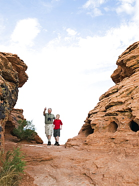 A father and son at Red Rock