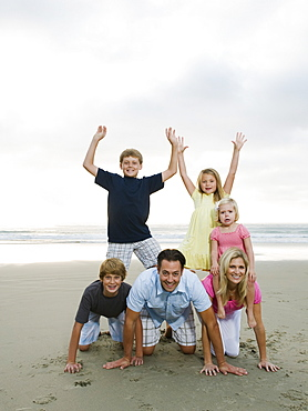 Family portrait at the beach