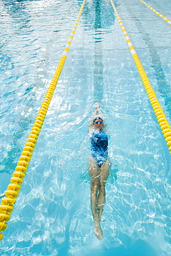Woman swimming laps