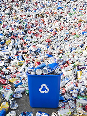 Pile of aluminum cans at recycling plant