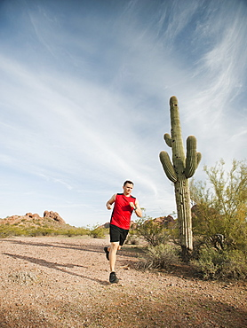 USA, Arizona, Phoenix, Mid adult man jogging on desert