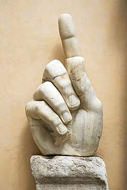 Close up of the hand of Constantine statue, Capitoline Museum, Italy