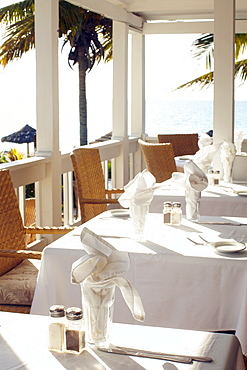 Beach resort restaurant table settings, Turks & Caicos, Providenciales