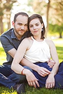 Happy young couple together, USA, Utah, Salt Lake