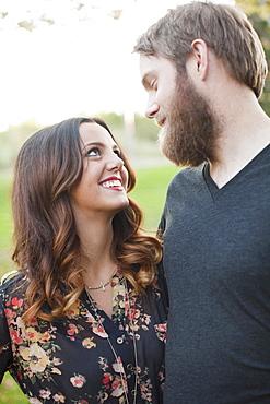 Couple looking in eyes, Salt Lake City, Utah