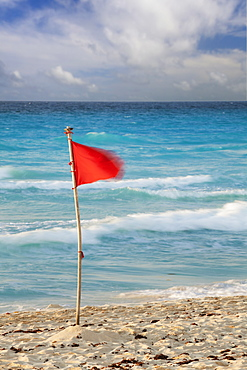 Mexico, Quintana Roo, Yucatan, Cancun, Red flag on beach, Mexico, Quintana Roo, Yucatan, Cancun