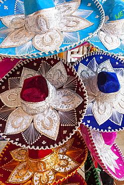 Traditional hats at market, Mexico, Quintana Roo, Yucatan, Cancun