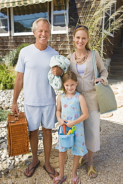 Family going to beach