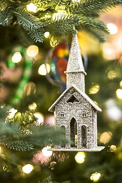 Close up of Christmas ornament hanging on Christmas tree