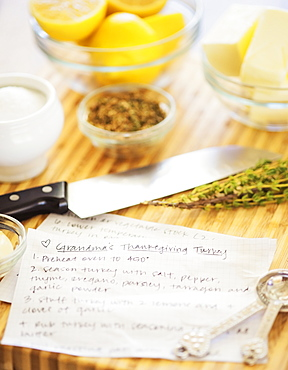 Recipe on table