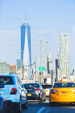 Traffic jam on bridge, New York City, New York