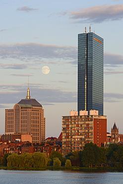 Supermoon rising over Boston and Charles river, Boston, Massachusetts