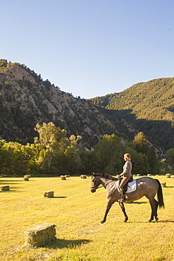 Woman horseback riding in field at sunset, Colorado