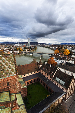 City roofs and Rhine River, Basel Minster and Rhine RiveerBasel, Basel-Stadt, Switzerland