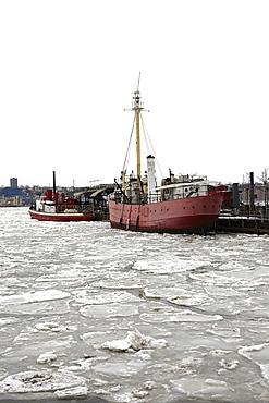 Ships in commercial dock, Hudson River, New York,USA