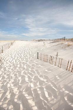 Footprints on beach, Lighthouse Beach, Chatham, Massachusetts,USA