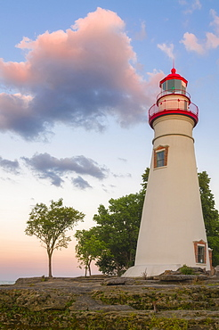 Low angle view of Marble Head Lighthouse, USA, Ohio, Sandusky, Marble Head Lighthouse