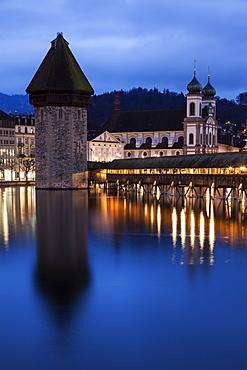 Chapel Bridge and Jesuit Church, Switzerland, Lucerne, Chapel Bridge,Kapellbrucke, Jesuit Church