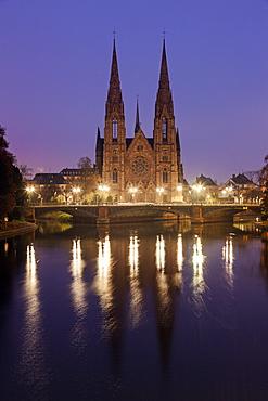 St Paul's church at night, France, Alsace, Strasbourg, St Paul's church