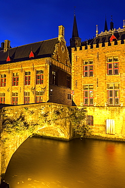Illuminated townhouses and bridge, Belgium, Flemish Region, Bruges