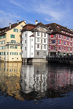 Townhouses reflecting in water, Switzerland, Lucerne