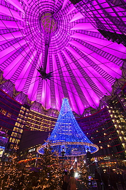 Illuminated dome of Sony Center, Germany, Berlin, Sony Center, Christmas time