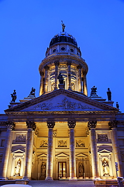 Illuminated French Cathedral against clear sky, Germany, Berlin, Gendarmenmarkt